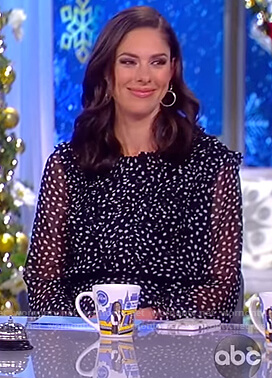Abby's black sheer dot ruffle dress on The View