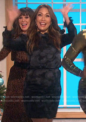 Carrie's black jacquard mini dress on The Talk