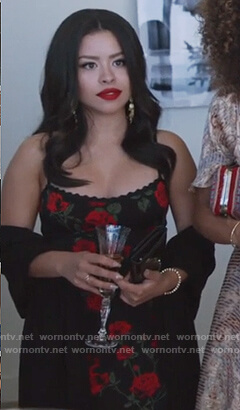 Mariana's black rose print dress on Good Trouble