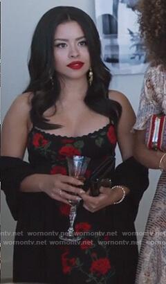 Mariana's black rose print dress on Good Trouble