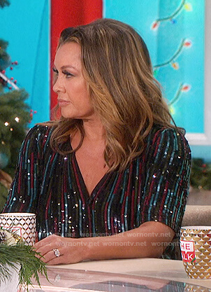 Vanessa Williams's sequin stripe top on The Talk