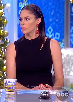 Abby's black shoulder cutout jumpsuit on The View