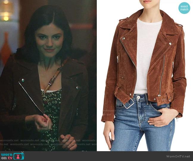 Suede Moto Jacket by Blank NYC worn by Monica Barbaro on Stumptown