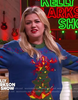 Kelly's blue ugly Christmas sweater on The Kelly Clarkson Show