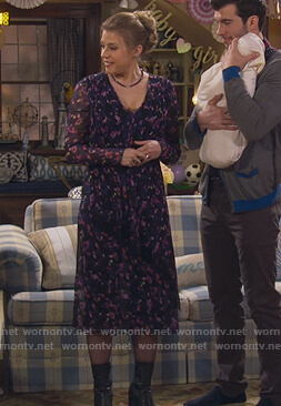 Stephanie's blue floral wrap dress on Fuller House
