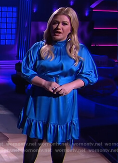 Kelly's blue satin mini dress on The Kelly Clarkson Show