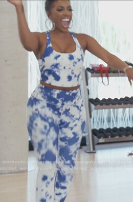 Porsha's blue tye dye leggings and top on The Real Housewives of Atlanta