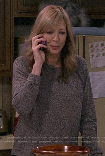 Bonnie's leopard sweatshirt on Mom