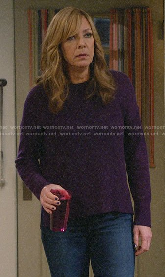 Bonnie's purple sweater on Mom
