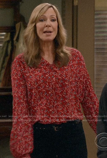 Bonnie's red floral top on Mom
