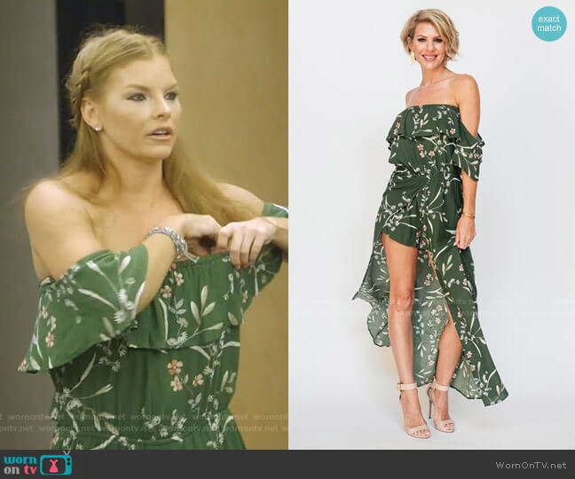 Olive Off Shoulder Romper Dress by Brandi Land worn by Brandi Redmond  on The Real Housewives of Dallas