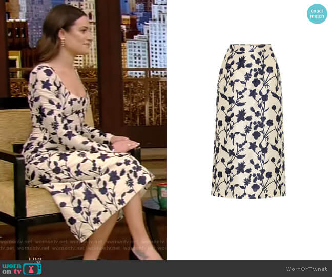 Quercini Floral-Jacquard Midi Skirt by Brock Collection worn by Lea Michele on Live with Kelly and Ryan