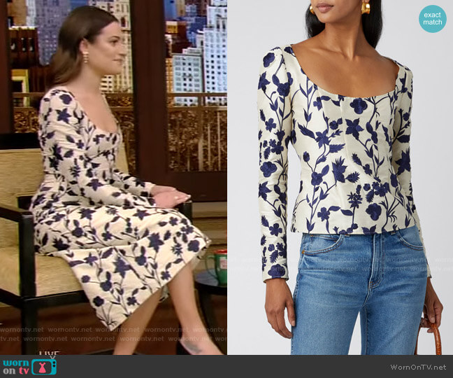 Floral-Jacquard Top by Brock Collection worn by Lea Michele on Live with Kelly and Ryan