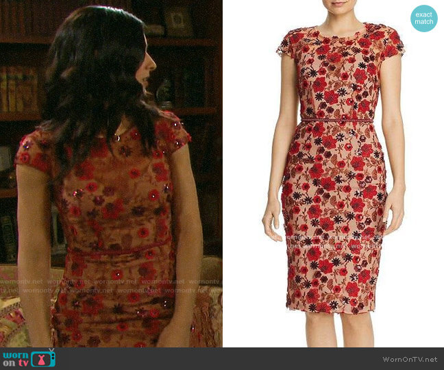 Bronx and Banco Della Rouge Embroidered Floral Sheath Dress worn by Gabi Hernandez (Camila Banus) on Days of our Lives