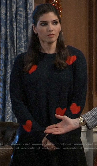 Brook Lynn's heart print sweater on General Hospital