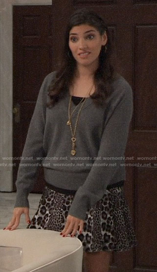 Brook Lynn's grey sweater and leopard print skirt on General Hospital