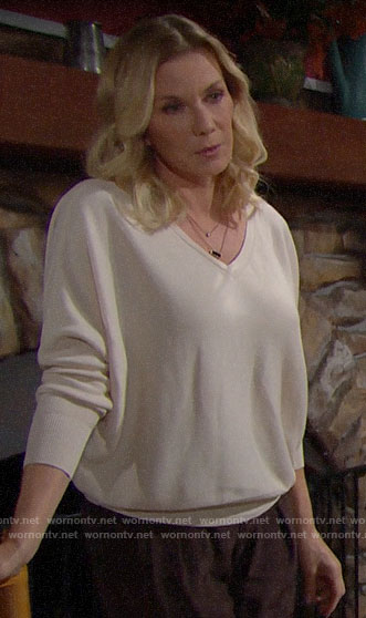 Brooke's white buttoned back sweater on The Bold and the Beautiful