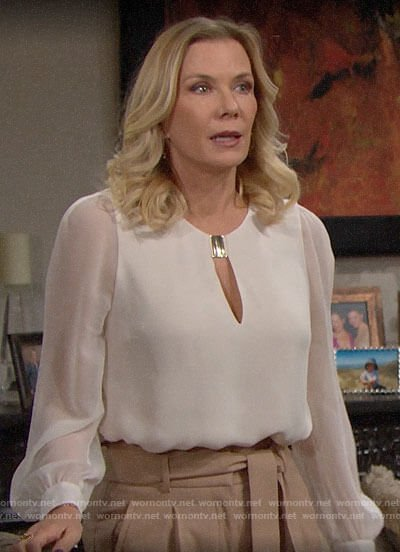Brooke's white keyhole blouse and khaki pants on The Bold and the Beautiful