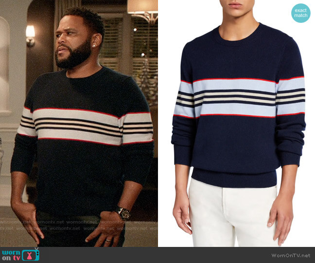 Burberry Furlong Striped Cashmere Sweater worn by Andre Johnson (Anthony Anderson) on Blackish