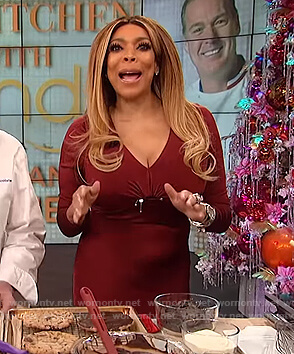 Wendy's burgundy cut out dress on The Wendy Williams Show