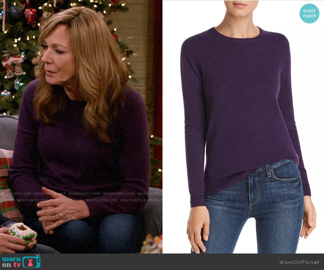 C by Bloomingdales Crewneck Cashmere Sweater worn by Bonnie Plunkett (Allison Janney) on Mom