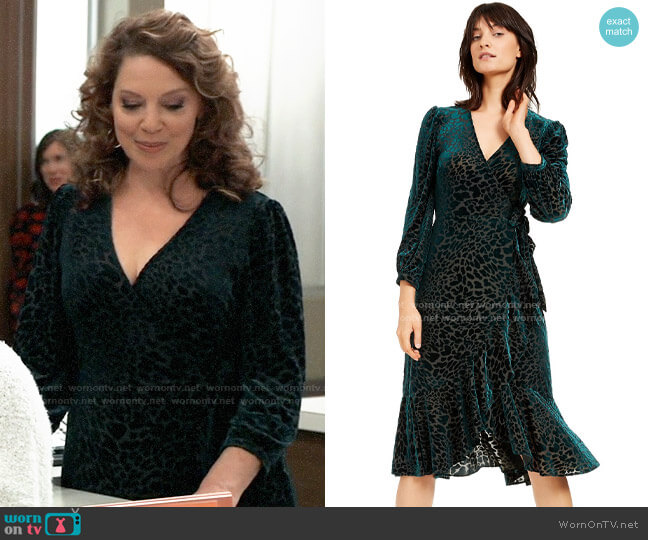 Calvin Klein Burnout Velvet Animal-Print Wrap Dress worn by Liesl Obrecht (Kathleen Gati) on General Hospital