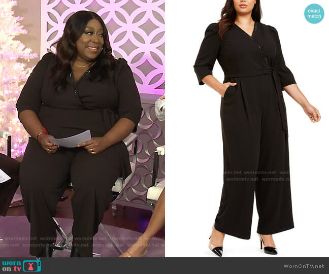 Plus Size Surplice Jumpsuit by Calvin Klein worn by Loni Love  on The Real