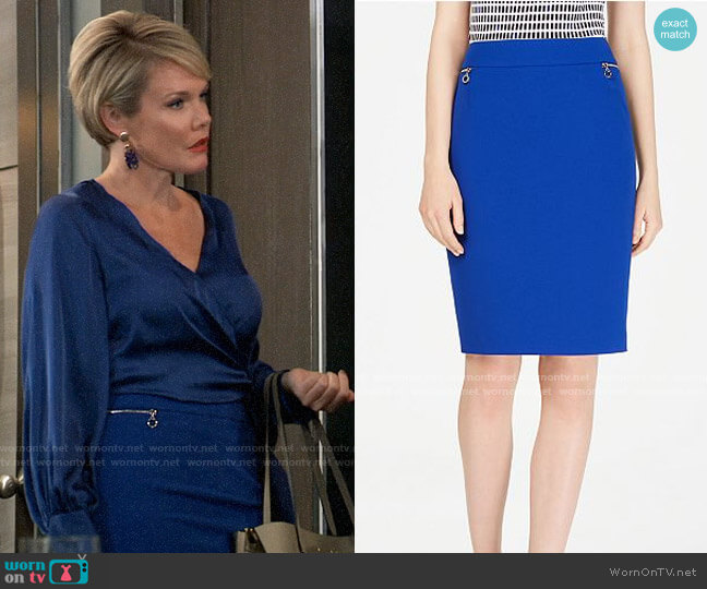 Calvin Klein Zip-Pocket Pencil Skirt worn by Ava Jerome (Maura West) on General Hospital