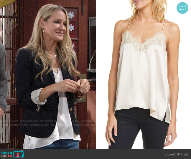 Cami NYC The Racer Camo Print Silk Camisole worn by Sharon Collins (Sharon Case) on The Young & the Restless