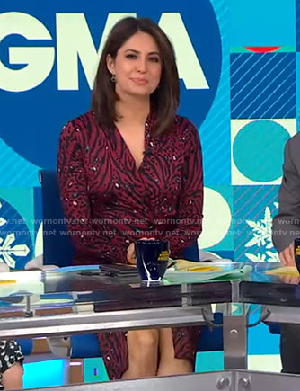 Cecilia's red animal print wrap dress on Good Morning America
