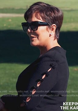 Kris's black square sunglasses on Keeping Up with the Kardashians