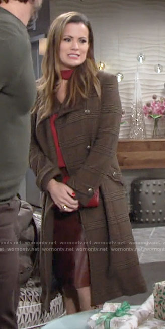 Chelsea's brown plaid coat on The Young and the Restless