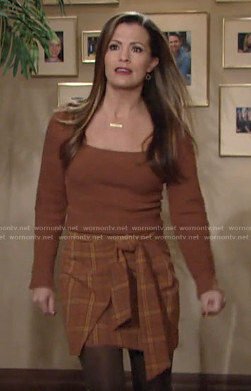 Chelsea's brown sweater and plaid wrap skirt on The Young and the Restless