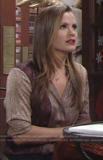 Chelsea's mixed snake print blouse on The Young and the Restless