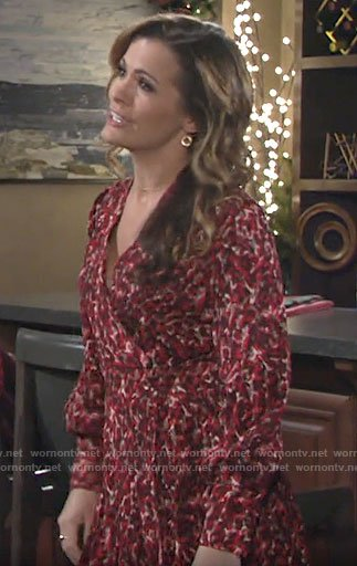 Chelsea's red printed wrap dress on The Young and the Restless