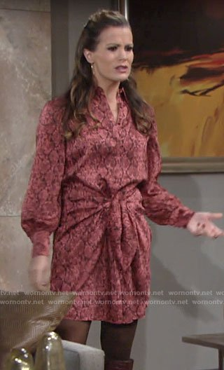 Chelsea's red snake print dress on The Young and the Restless