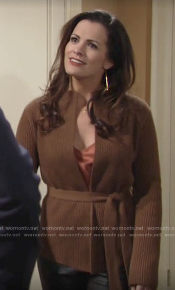 Chelsea's tan belted cardigan on The Young and the Restless