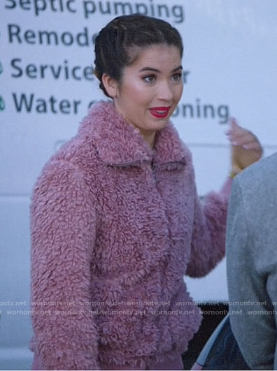 Cheyenne's pink teddy jacket on Superstore