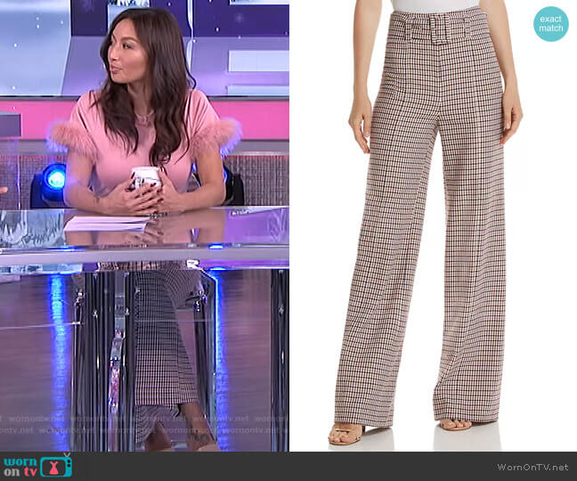Eliza Wide-Leg Plaid Pants by Cinq a Sept worn by Jeannie Mai  on The Real