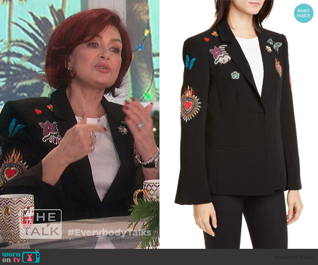 Sacred Heart Rumi Blazer by Cinq a Sept worn by Sharon Osbourne  on The Talk