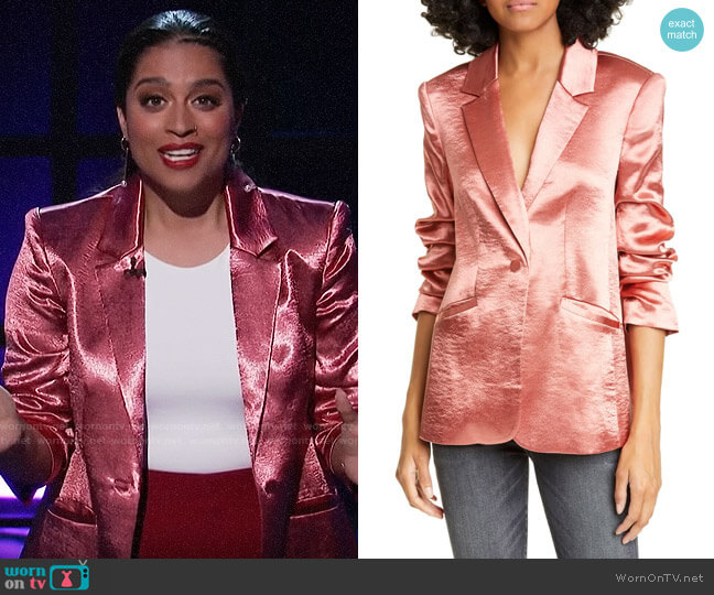 Cinq a Sept Kylie Jacket worn by Lilly Singh  on A Little Late with Lilly Singh