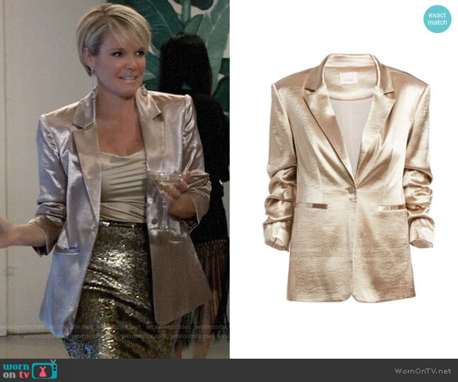 Cinq a Sept Kylie Blazer in Pewter worn by Ava Jerome (Maura West) on General Hospital