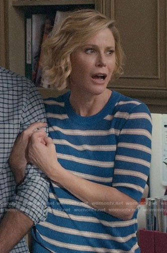 Claire's blue striped short sleeve sweater on Modern Family