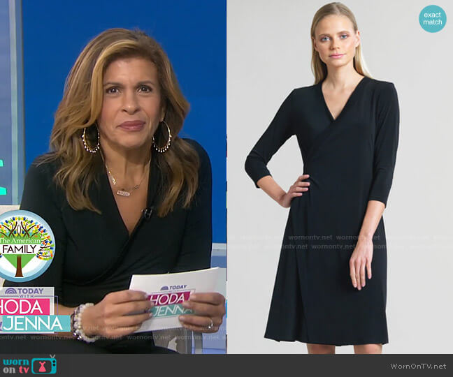 Faux Wrap V-Neck 3/4 Sleeve Dress by Clara Sunwoo worn by Hoda Kotb  on Today