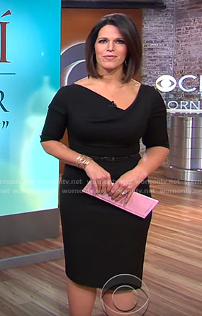 Dana's black asymmetric v-neck dress on CBS This Morning