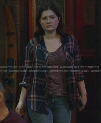 Debbie's navy and pink plaid shirt on Shameless