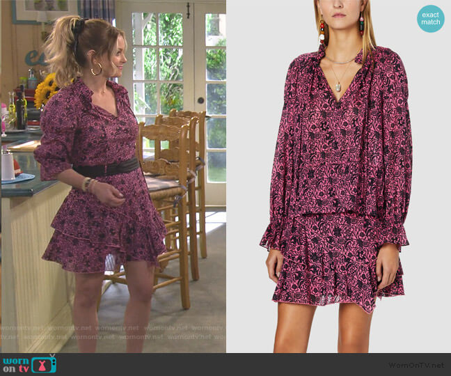 Ehtnic Floral Print Ruffle Neck Blouse and ruffle skirt by Derek Lam 10 Crosby worn by DJ Tanner-Fuller (Candace Cameron Bure) on Fuller House