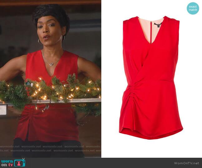 Sleeveless Asymmetrical Ruched Blouse by Derek Lam worn by Athena Grant (Angela Bassett) on 9-1-1