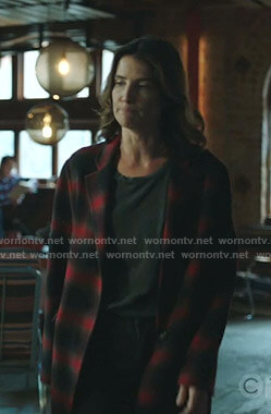 Dex's red plaid coat on Stumptown