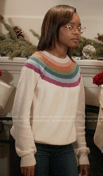 Diane's rainbow striped sweater on Black-ish
